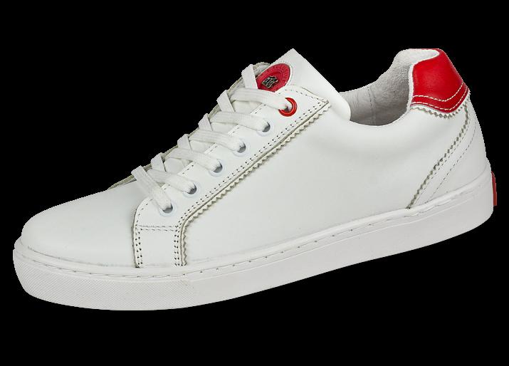 3fc07802e2a Бели спортни обувки с червени елементи - Дамски обувки от естествена ...
