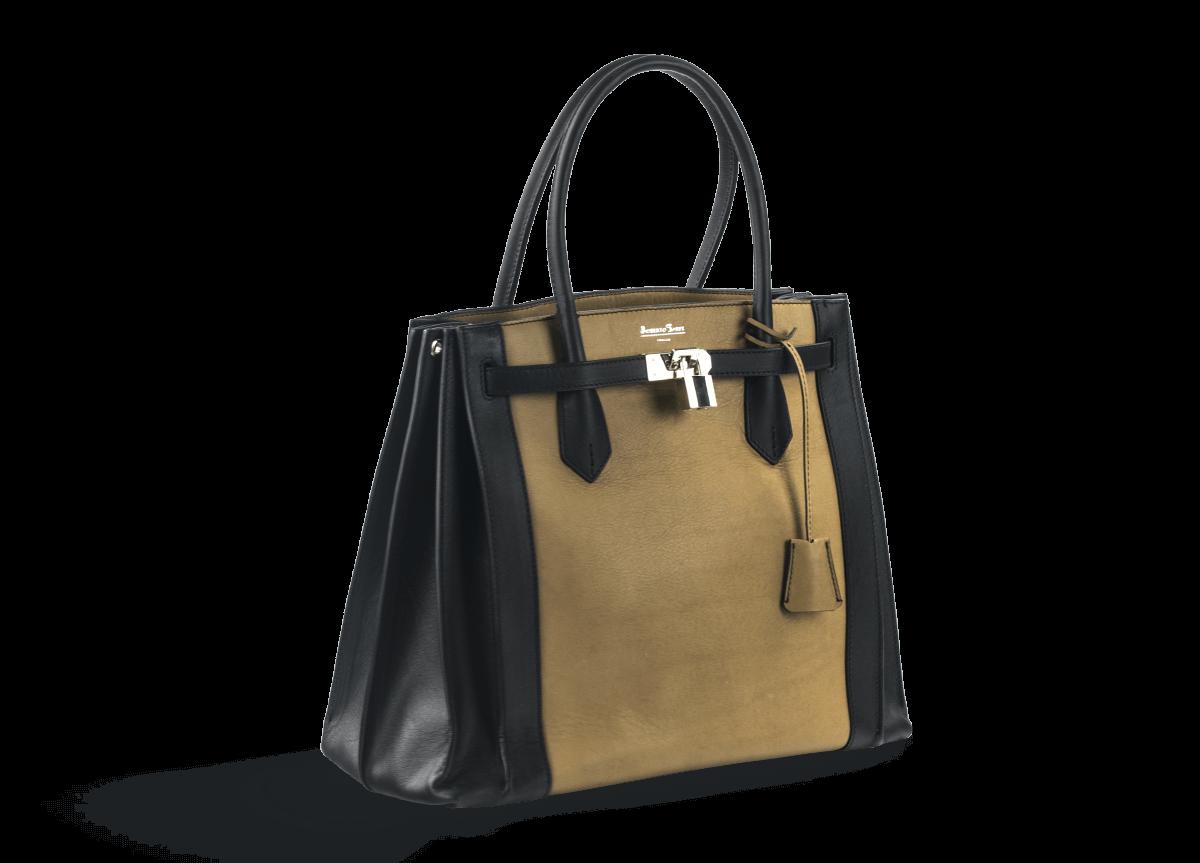568131b57b5 Дамска чанта в черно и кафяво с катинар - Дамски обувки от ...