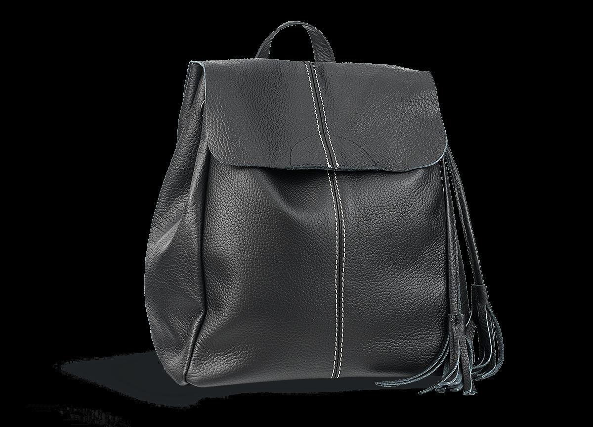 aceccf55f2d Дамска чанта с пискюли от естествена кожа в черно - Дамски обувки от ...