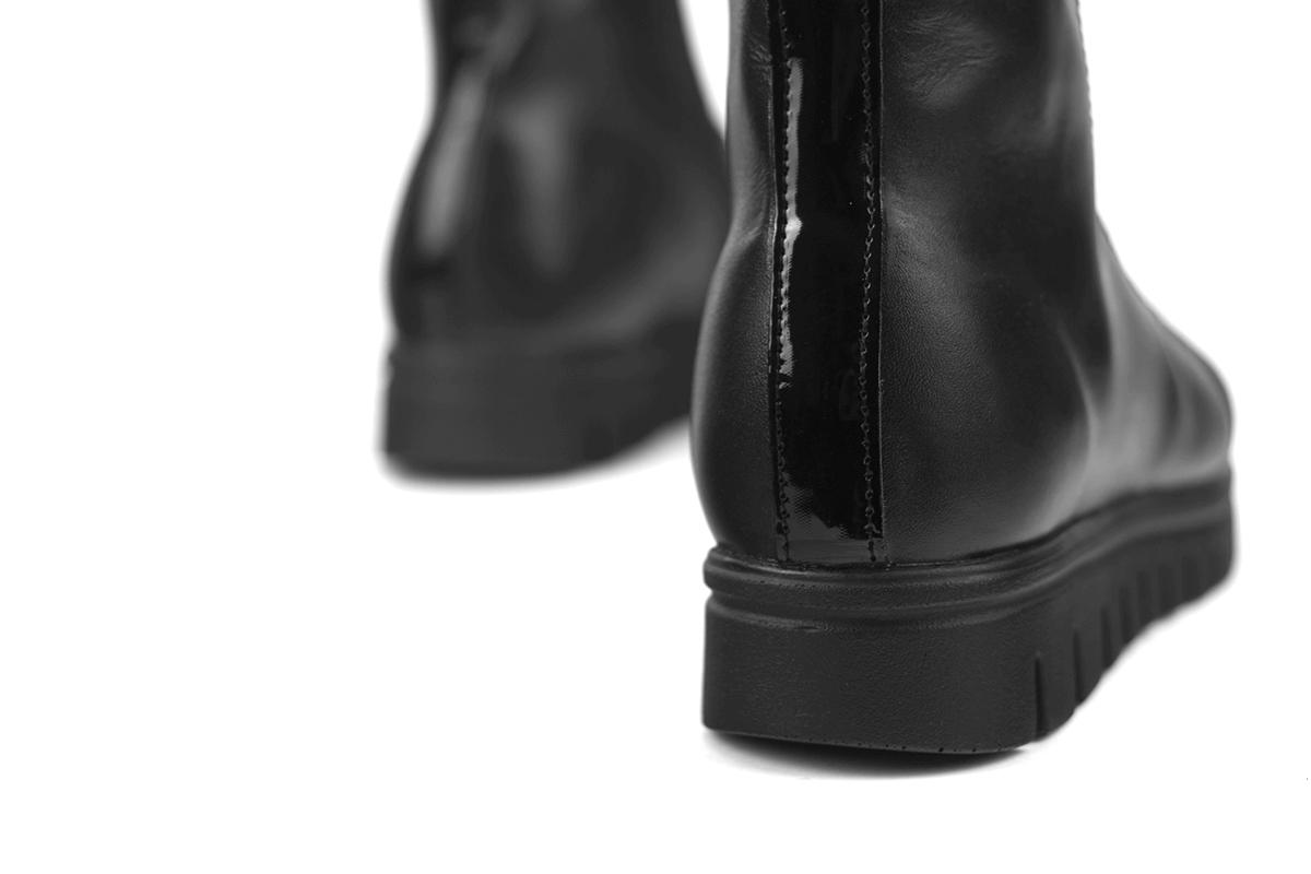 67089818b7d Дамски боти с ластик и цип - черна напа и лак - Дамски обувки от ...