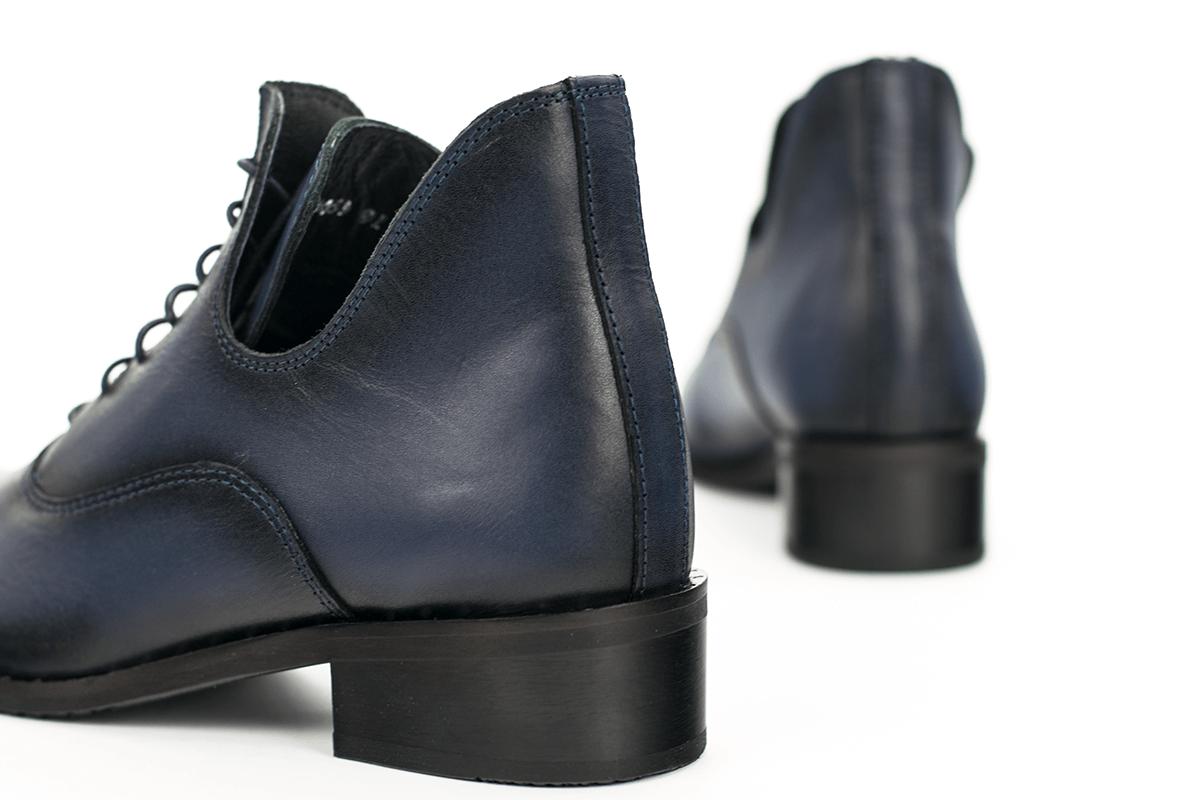 a497cb83ebd Дамски боти в тъмно синя напа - Дамски обувки от естествена кожа ...