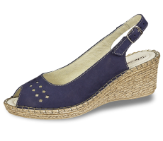 Summer ladies' sandals with perforation and buckle