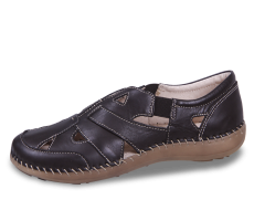 Ladies' loafers in black with decorative stitching
