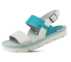 Ladies' sandals in white and blue with a strap
