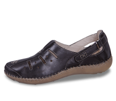 Black ladies' loafers with perforation and decorative stitching