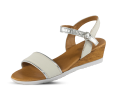White ladies' sandals with silvery accents