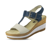 Ladies' sandals with wedge-shaped heels in blue and white color